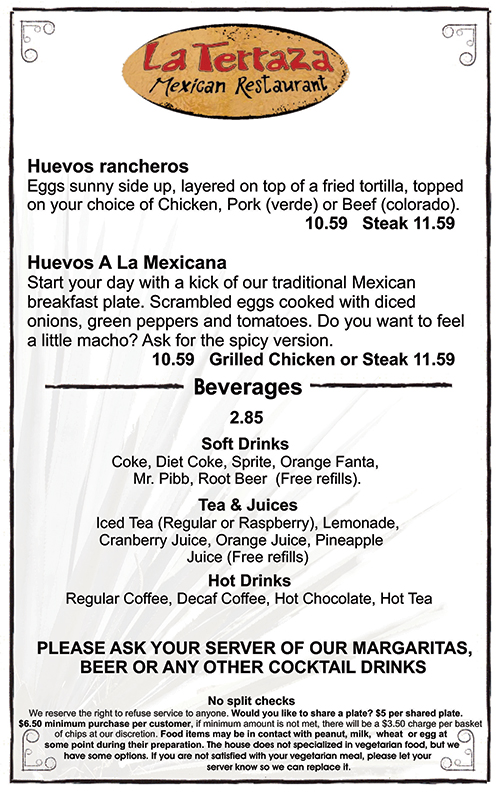 La Terraza Old Sacramento, Breakfast Menu